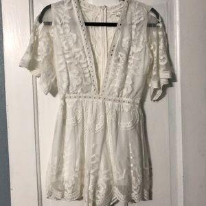 Honey Punch Dresses - Honey Punch white lace romper
